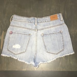 BDG Distressed High Rise Cheeky Denim Shorts